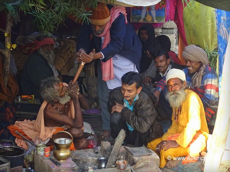 Sadhu Smoking Chillum at Bhavnath Fair 2015 in Junagadh, Gujarat