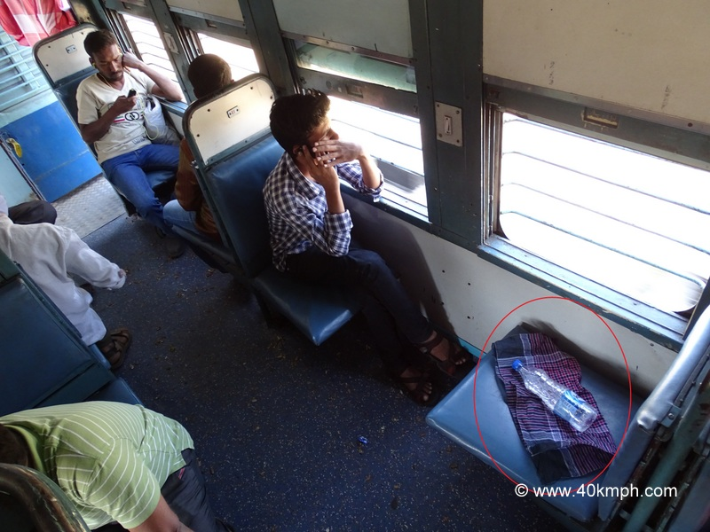 Sign of Occupied Seat in Train General Compartment