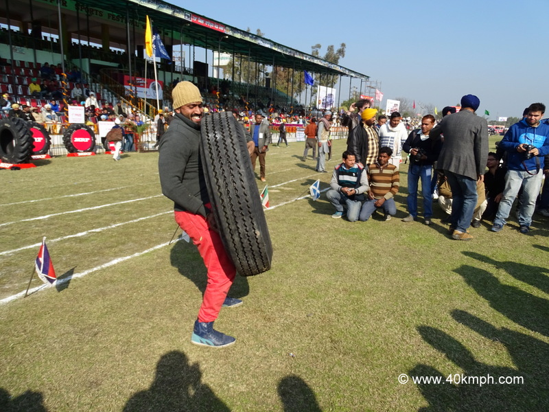 Tractor Tyre Lifting Competition at Kila Raipur Sports Festival 2015 in Punjab