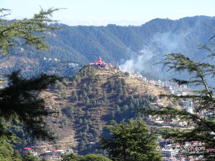 View of Dhingu Mata Temple from Jakhu Temple in Shimla, Himachal Pradesh