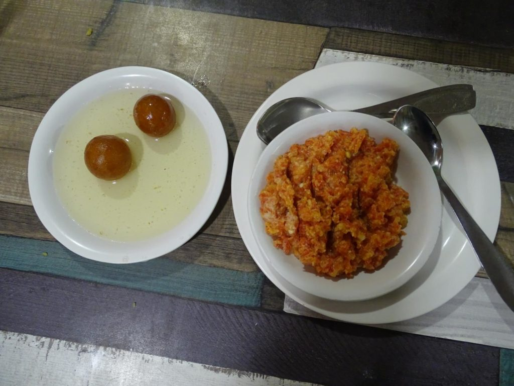 Gulab Jamun and Gajar Halwa at Aaswad Restaurant