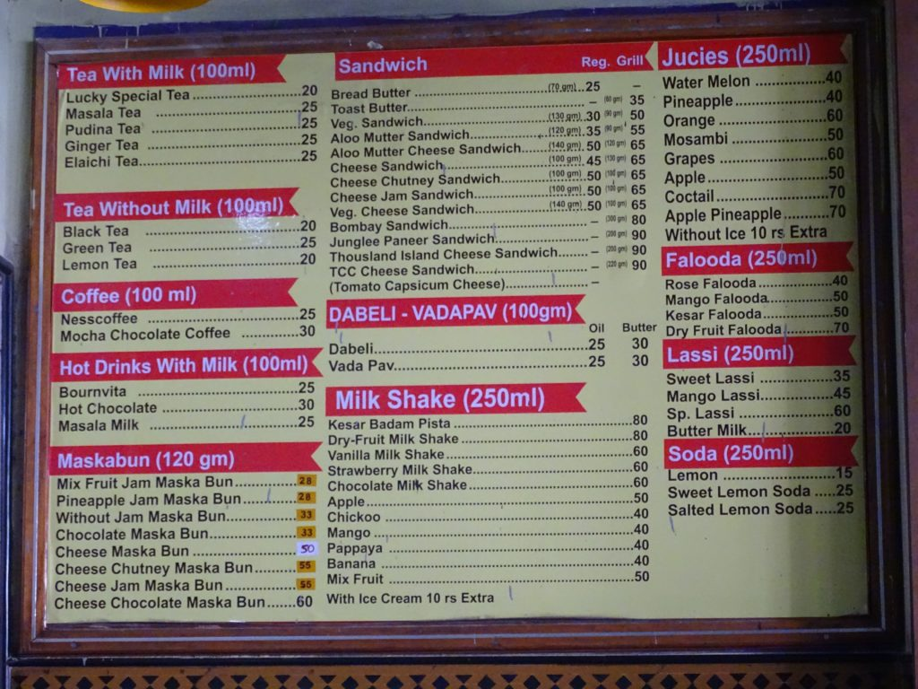 Menu - Lucky Tea Stall, Ahmedabad, Gujarat