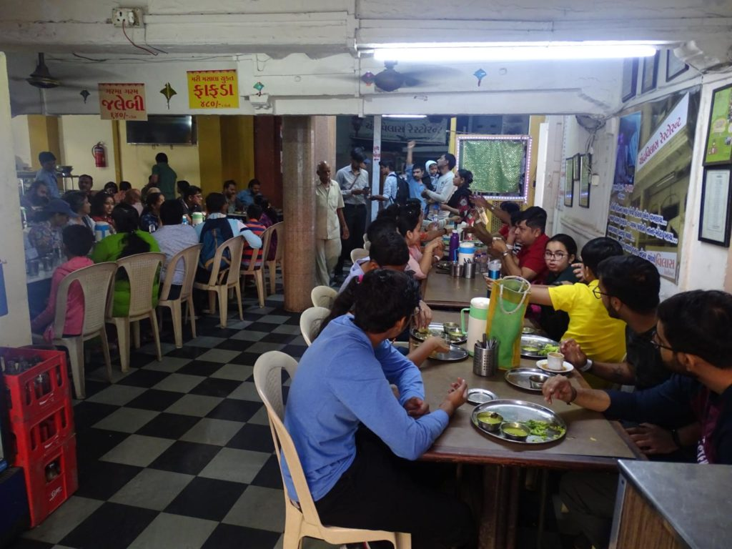 customers at Chandravilas Restaurant, Gandhi Road, Old City, Khadia, Ahmedabad, Gujarat