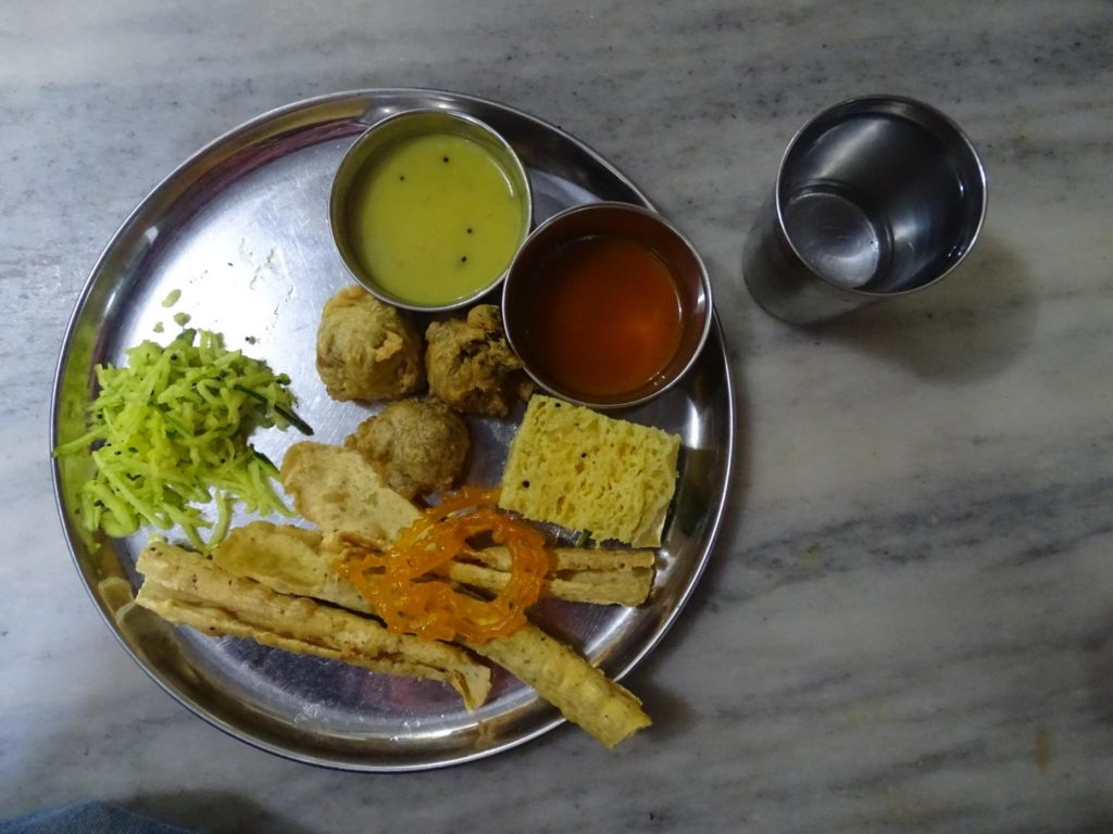 fafda, jalebi, khaman, methi bhajiya at Chanravilas Restaurant, Gandhi Road, Old City, Khadia, Ahmedabad, Gujarat