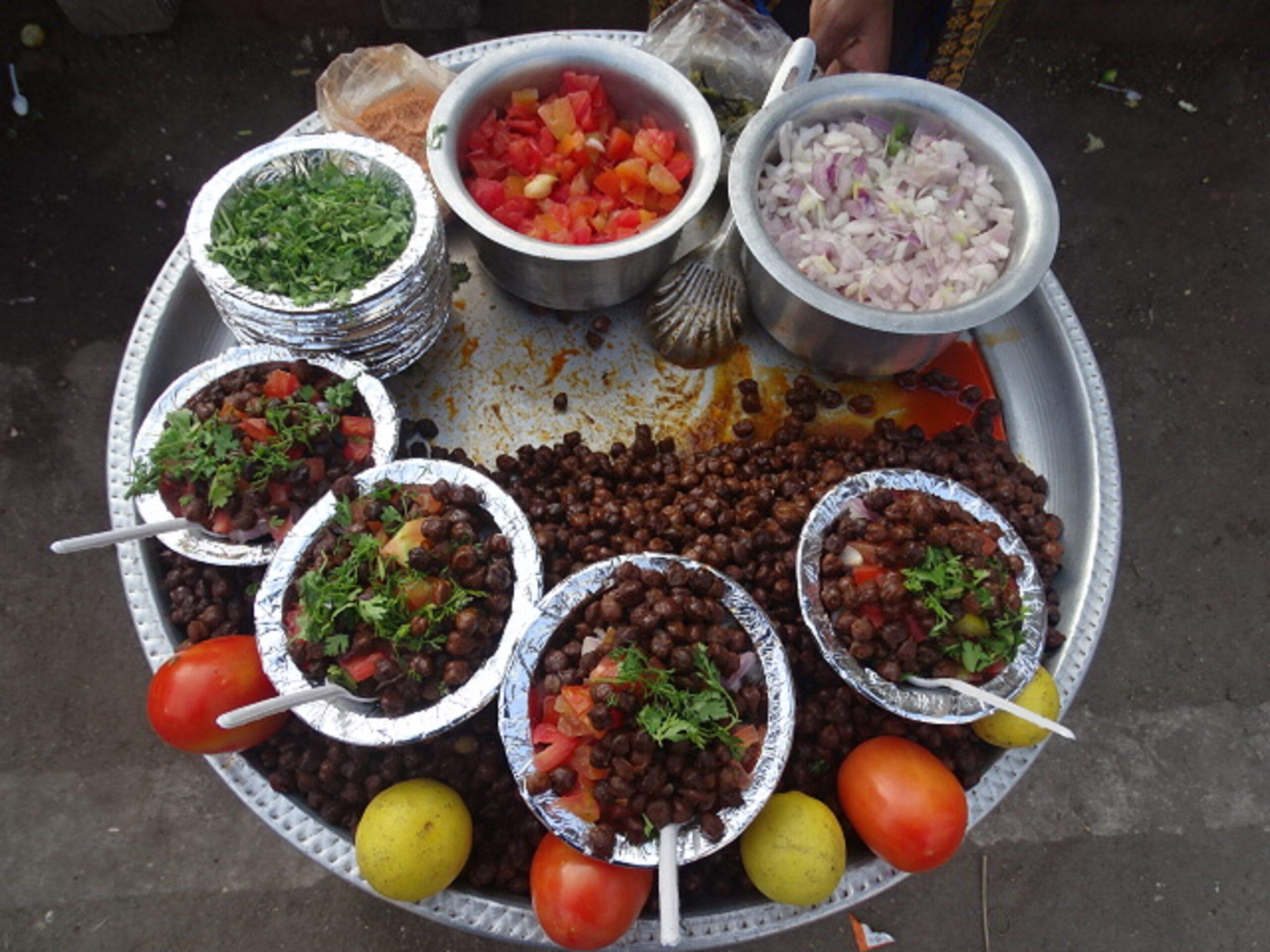 Kala Chana Chat - Dry Black Chickpeas Chaat at Shirdi, Maharashtra