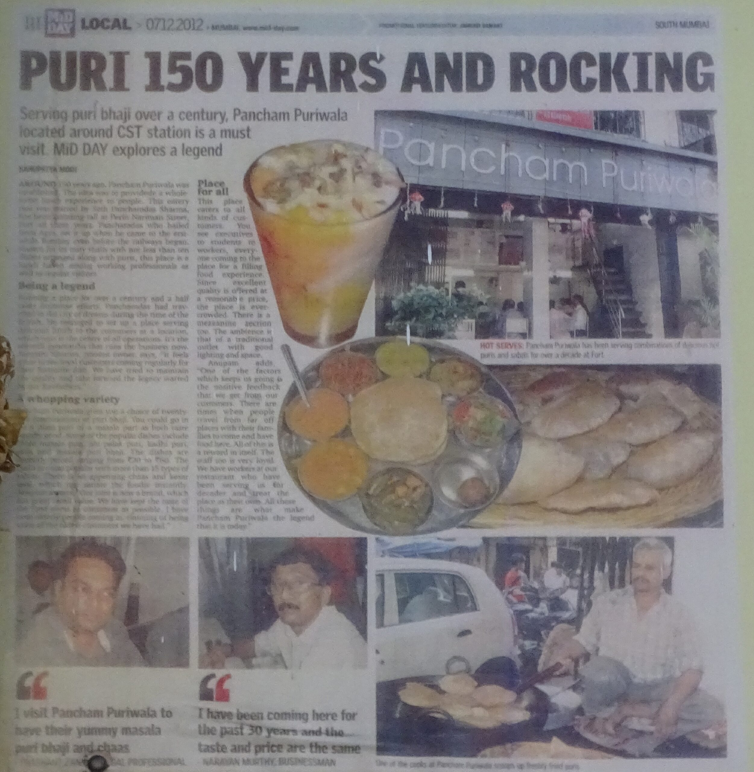 Article on Pancham Puriwala by Mid Day