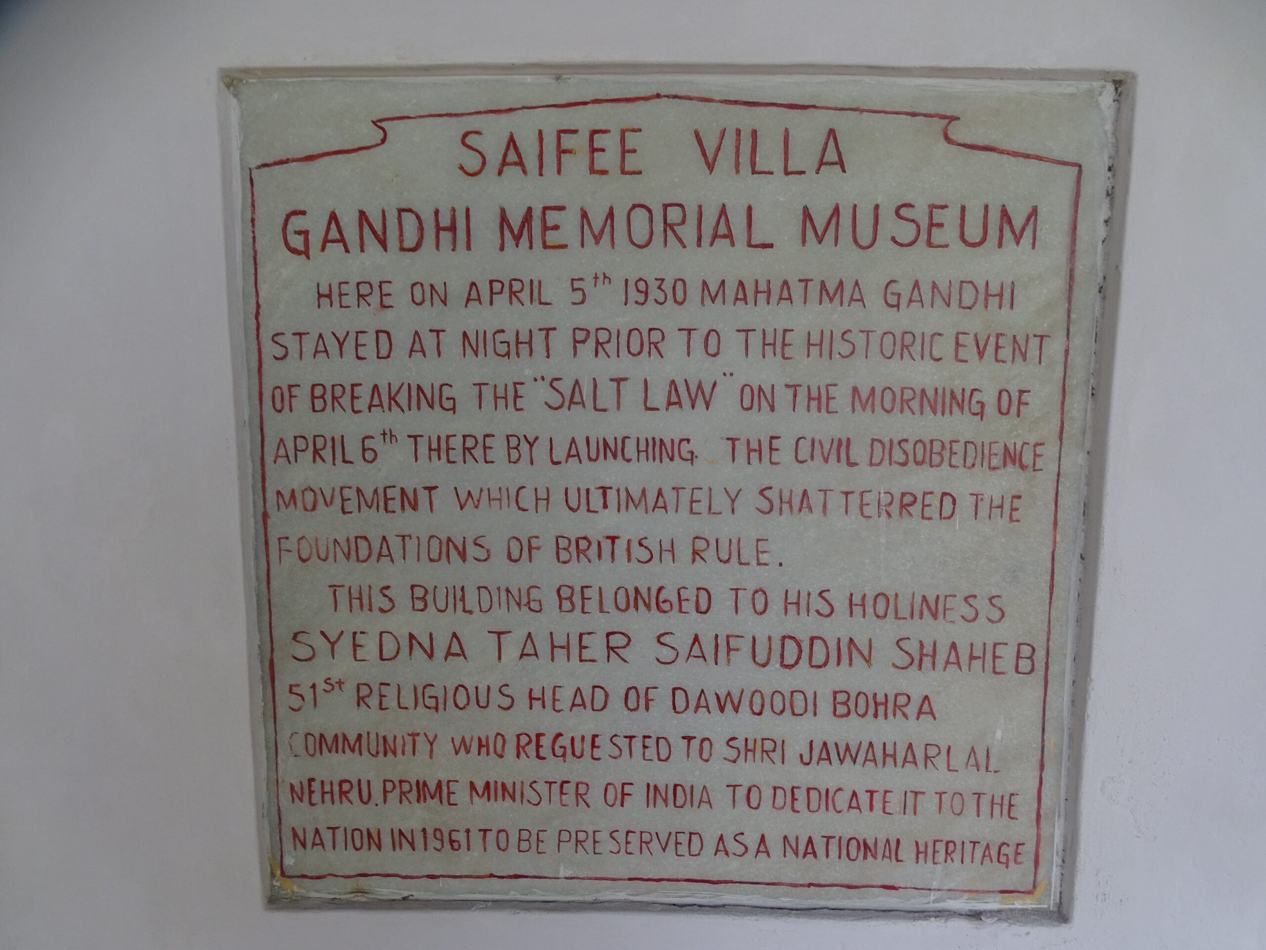 Historical Marker at Saifee Villa - Gandhi Memorial Museum, Dandi, Gujarat, India
