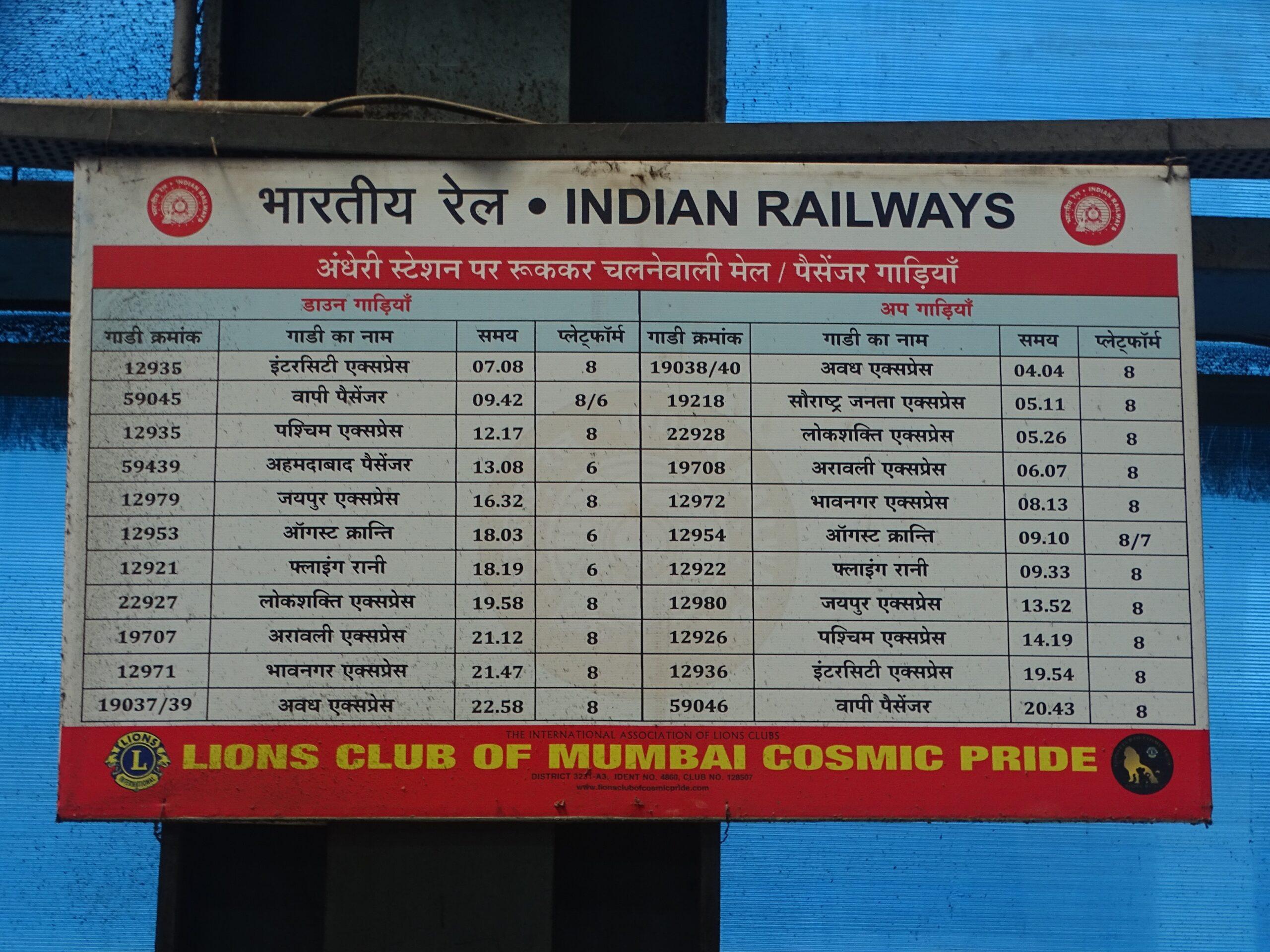Mail/Passenger Trains - Halt at Andheri Station (Mumbai, Maharashtra, India)