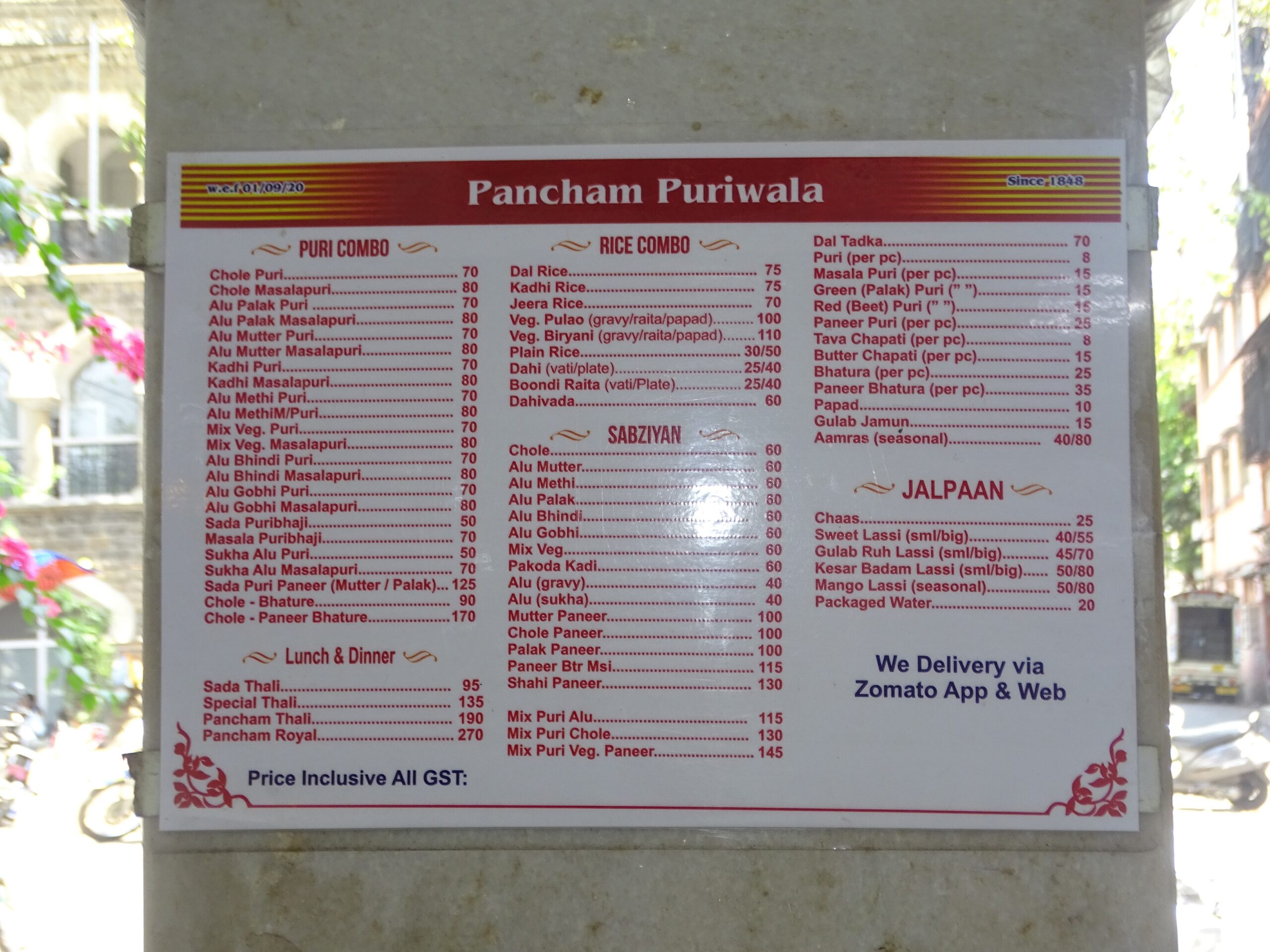 Menu Rate List of Pancham Puriwala (near Chhatrapati Shivaji Maharaj Terminus - CSMT, Mumbai, Maharashtra, India)
