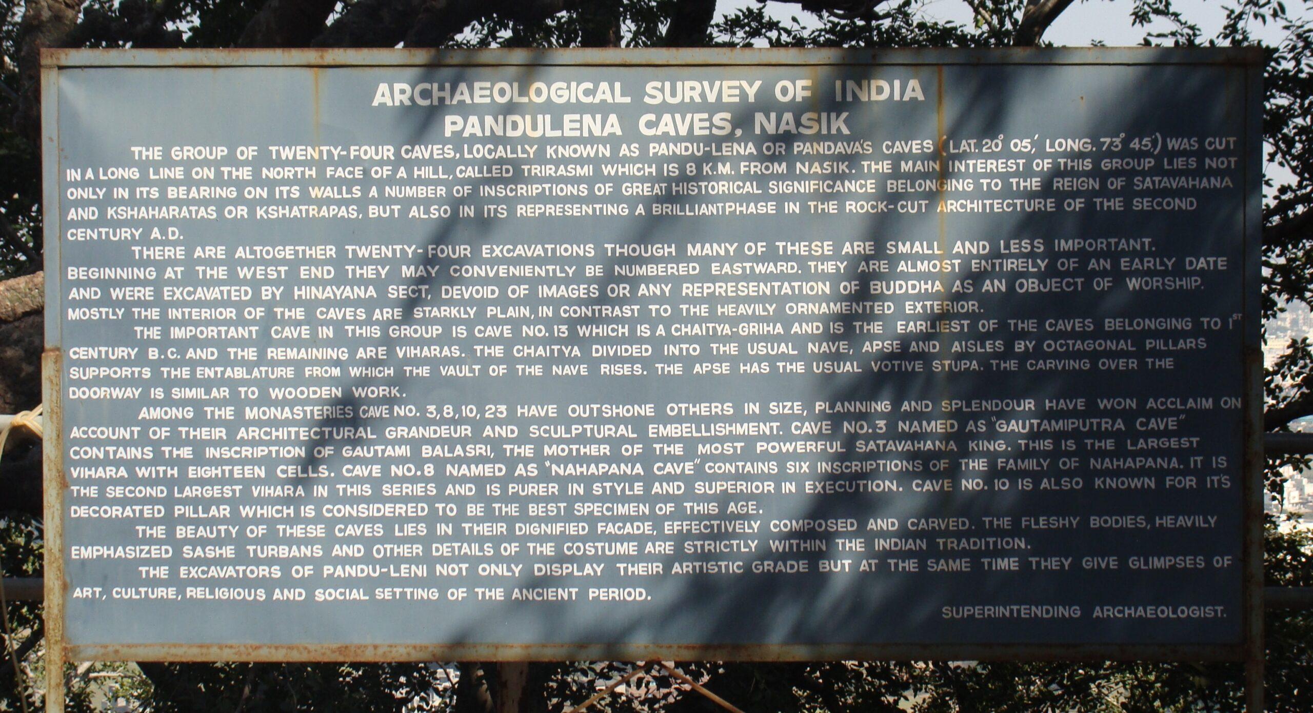 History of Pandulena Caves (Nashik, Maharashtra, India)